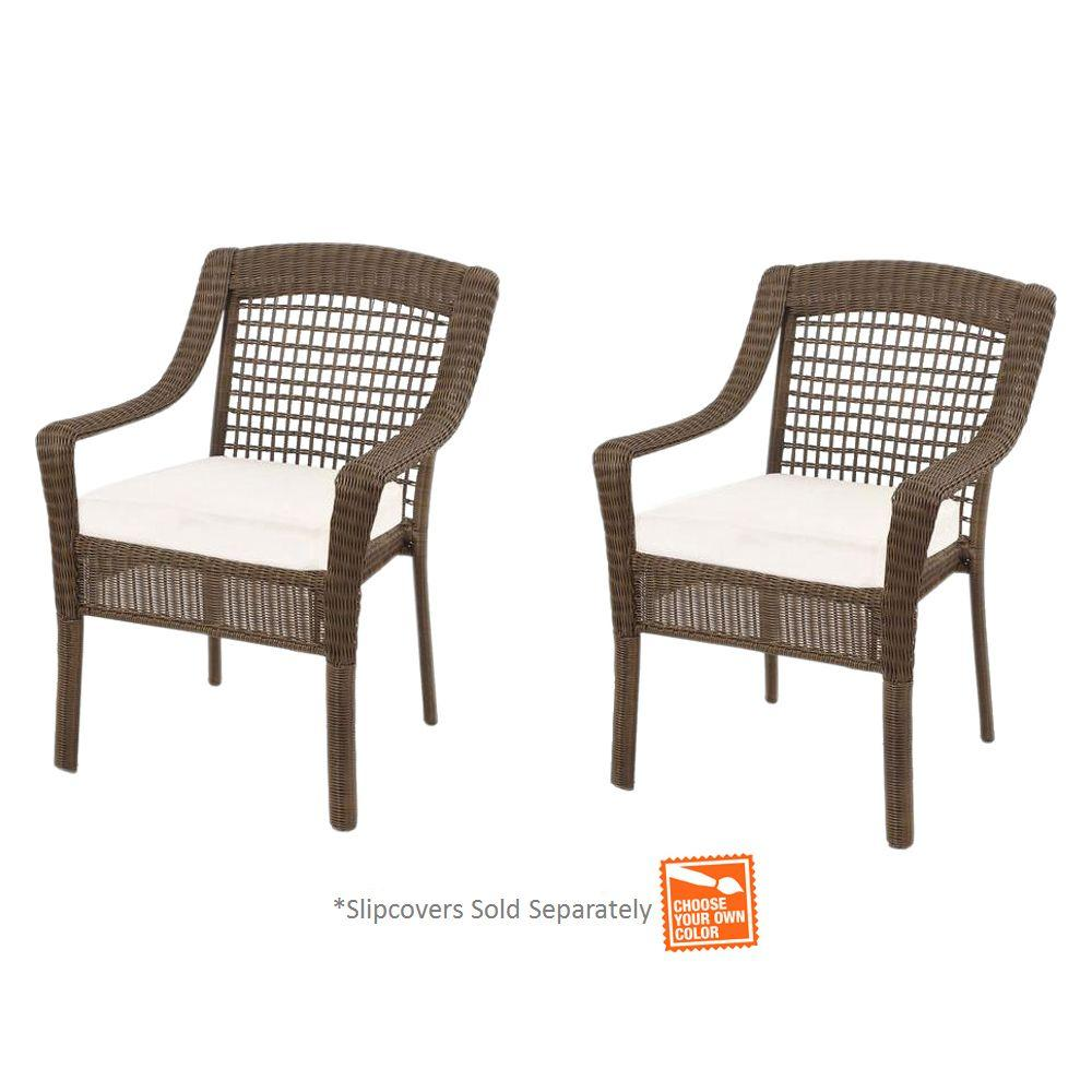 Hampton Bay Spring Haven Grey Wicker Patio Dining Chairs ...