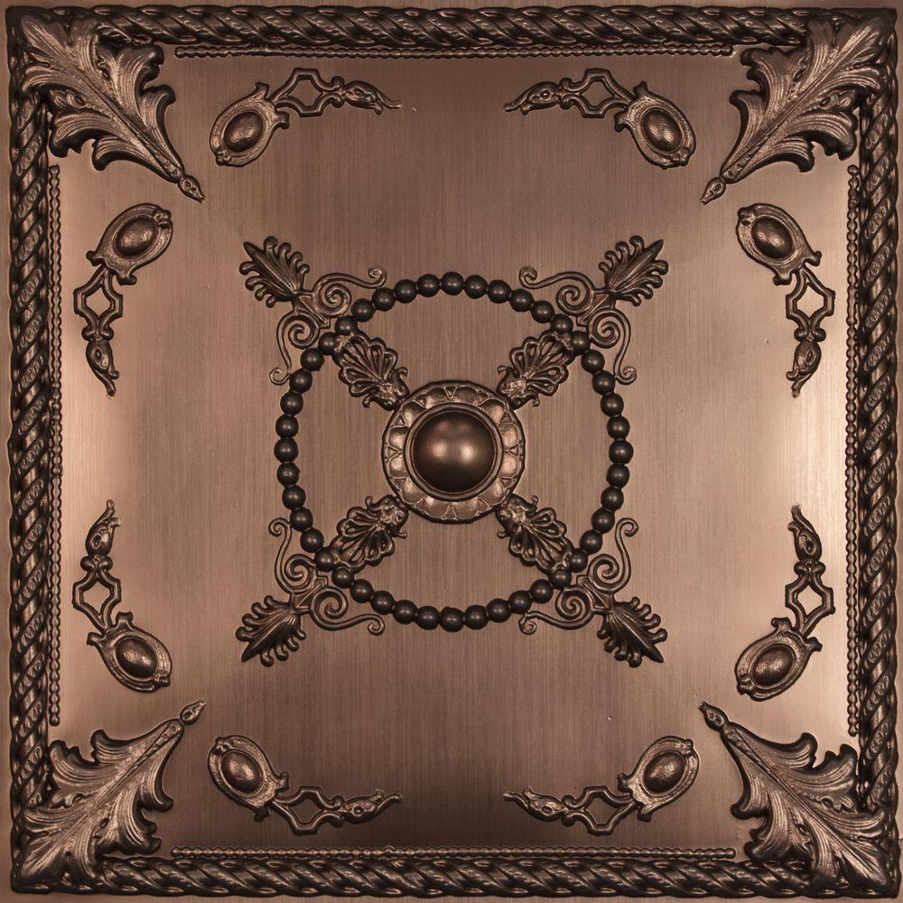 Ceilume Alexander Faux Bronze 2 ft. x 2 ft. Lay-in or Glue-up Ceiling Panel (Case of 6)