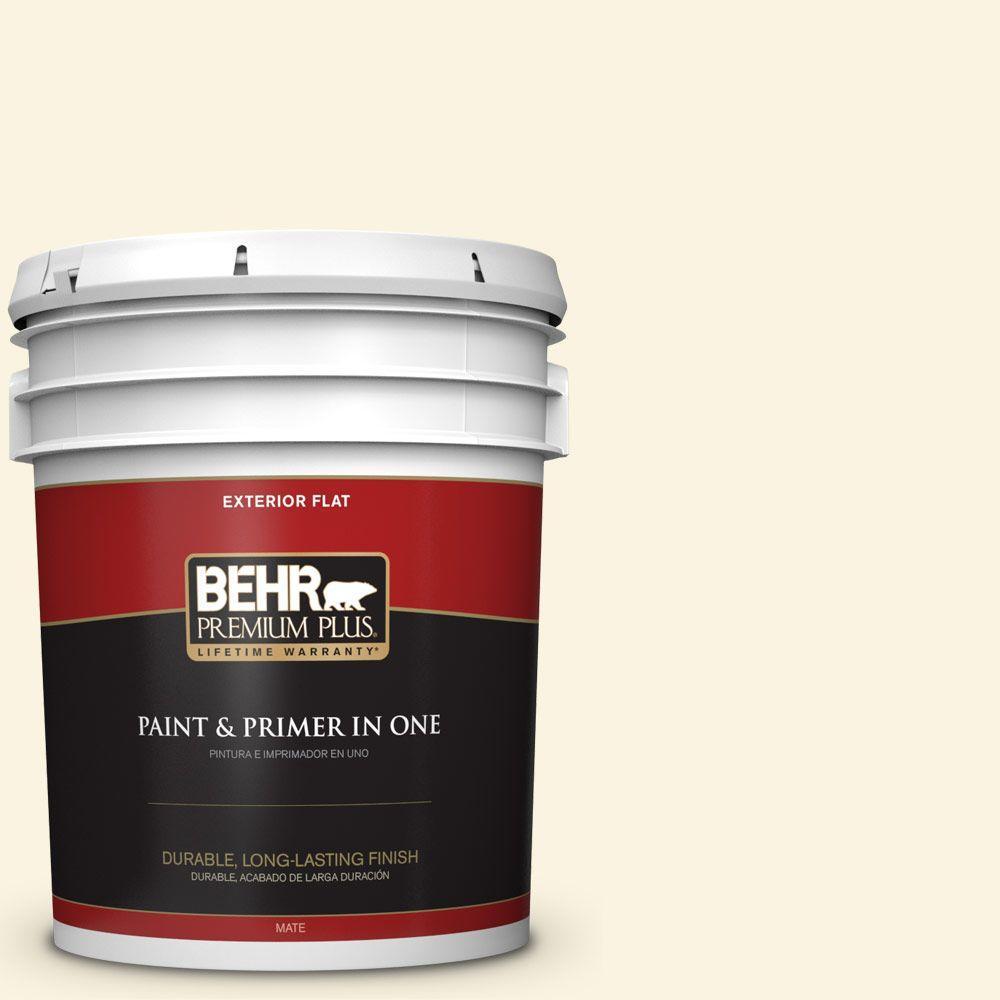 BEHR Premium Plus 5-gal. #360A-1 Social Butterfly Flat Exterior Paint