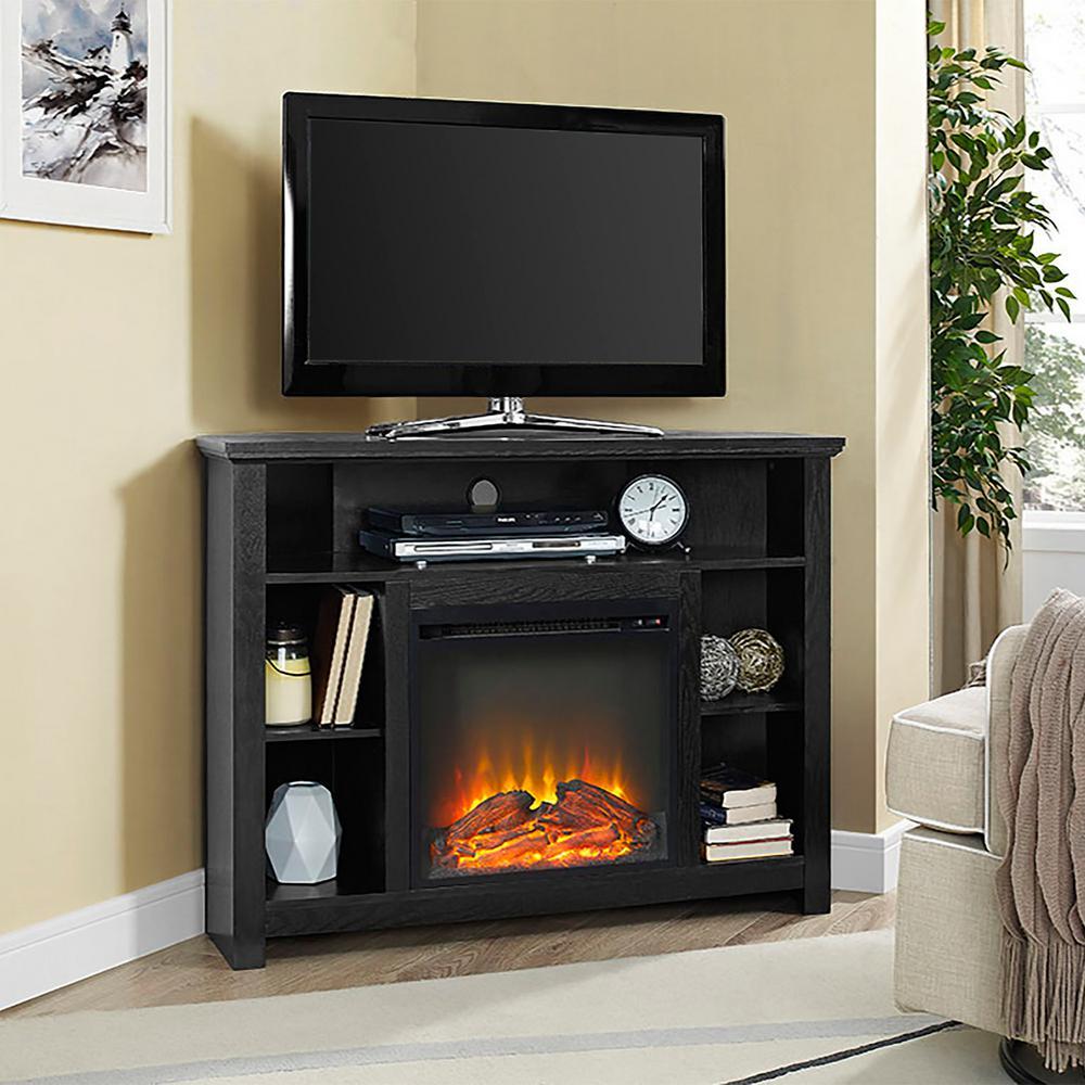 Walker Edison Furniture Company Highboy Black Fire Place