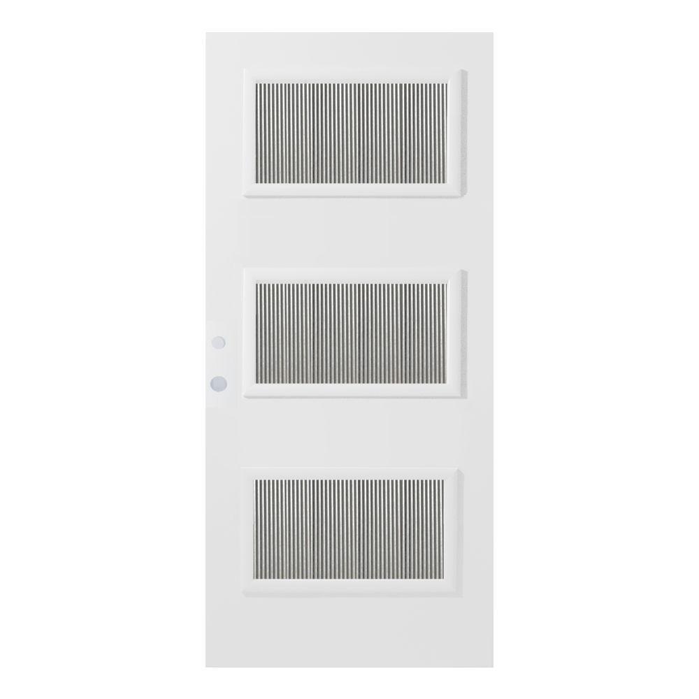36 in. x 80 in. Dorothy Flutelite 3 Lite Painted White