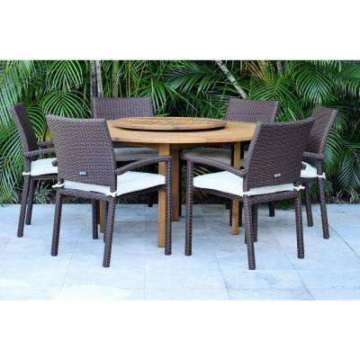 Wesford Lazy Susan 7-Piece Wood Round Outdoor Dining Set with White Cushions