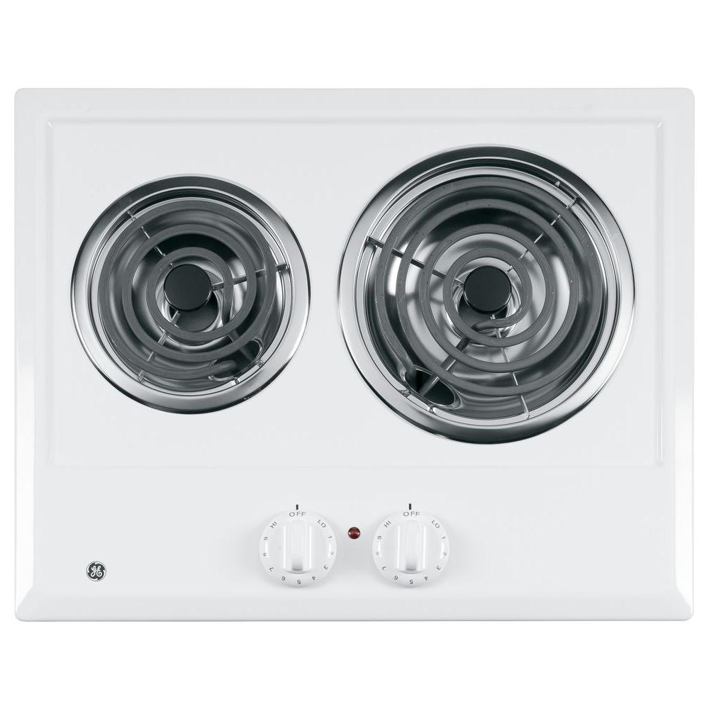GE 21 in. Coil Electric Cooktop in White with 2 Elements