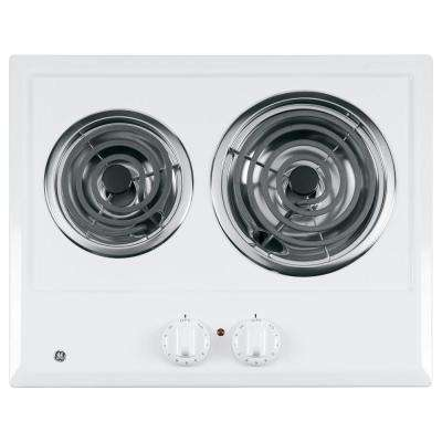 coil electric cooktop in white with 2 elements