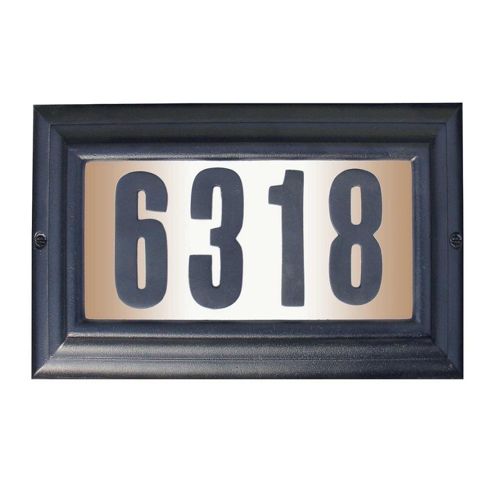 QualArc Edgewood Rectangular Aluminum Lighted Address Plaque in Black