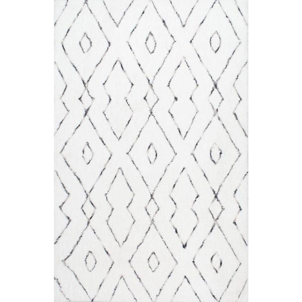 Beaulah Modern Geometric Shag White 10 ft. x 14 ft. Area Rug