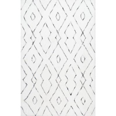 Beaulah Modern Geometric Shag White 6 ft. Square Rug