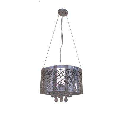 6-Light Chrome Chandelier with Chrome Steel Shade