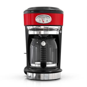 Retro Style 8-Cup Red Stainless Steel Drip Coffee Maker