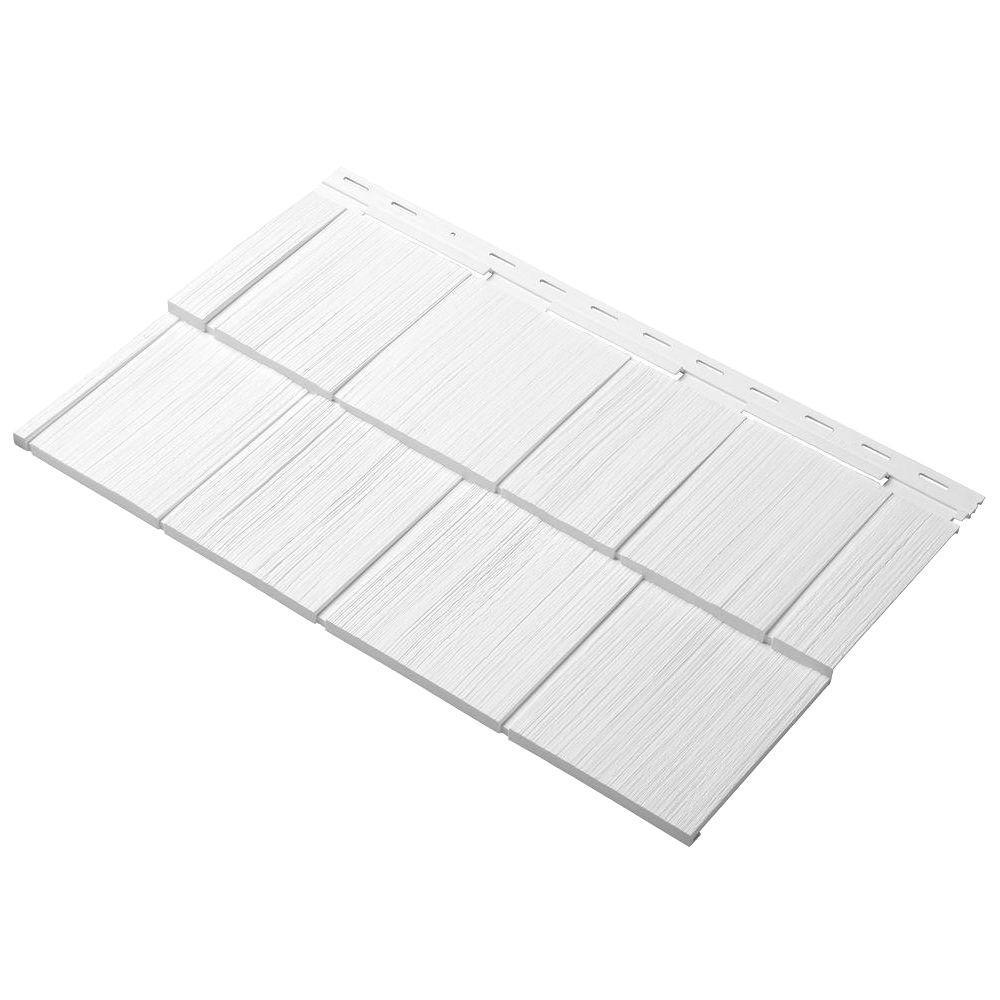 Cedar Dimensions Shingle 24 in. Polypropylene Siding Sample in White