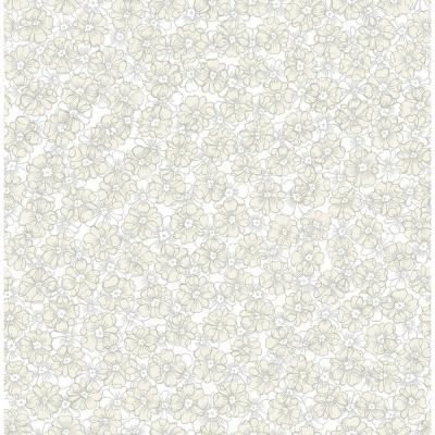 Allison Taupe Floral Wallpaper