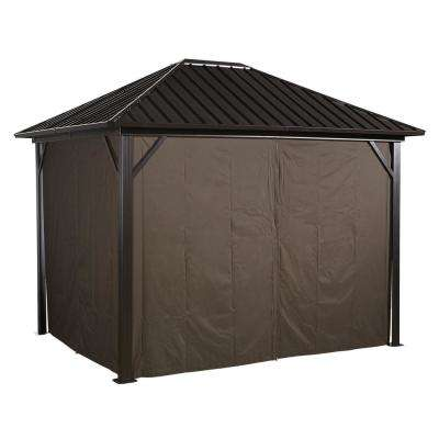 10 ft. x 12 ft. Curtains for Genova in Brown - Gazebo Not Included