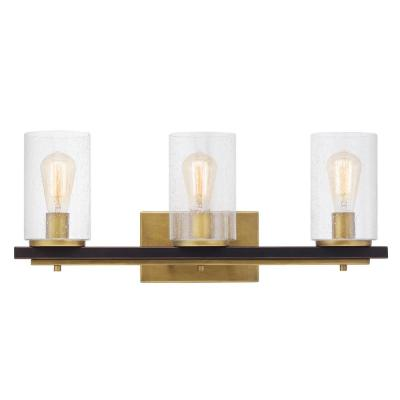 Boswell Quarter 3-Light Vintage Brass Vanity Light with Painted Black Distressed Wood Accents