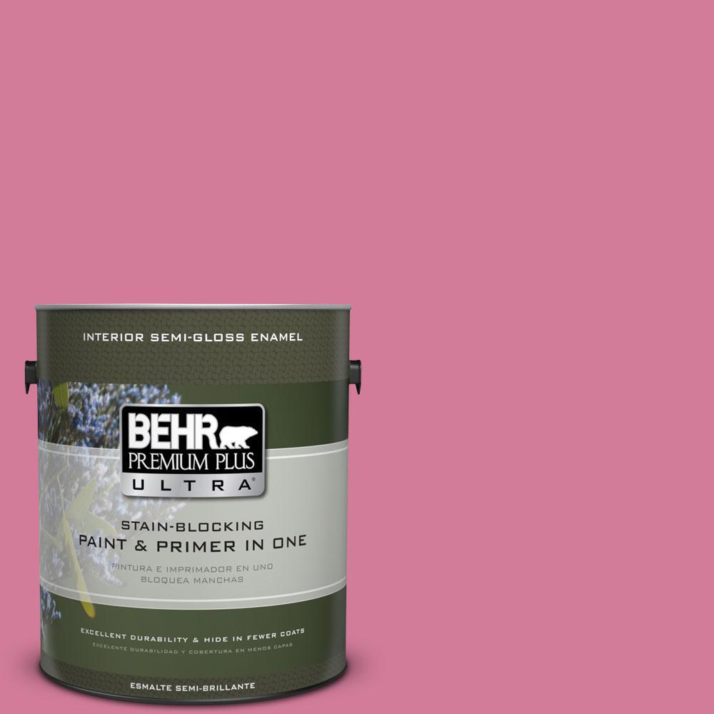 BEHR Premium Plus Ultra 1-gal. #P130-5 Little Bow Pink Semi-Gloss Enamel Interior Paint