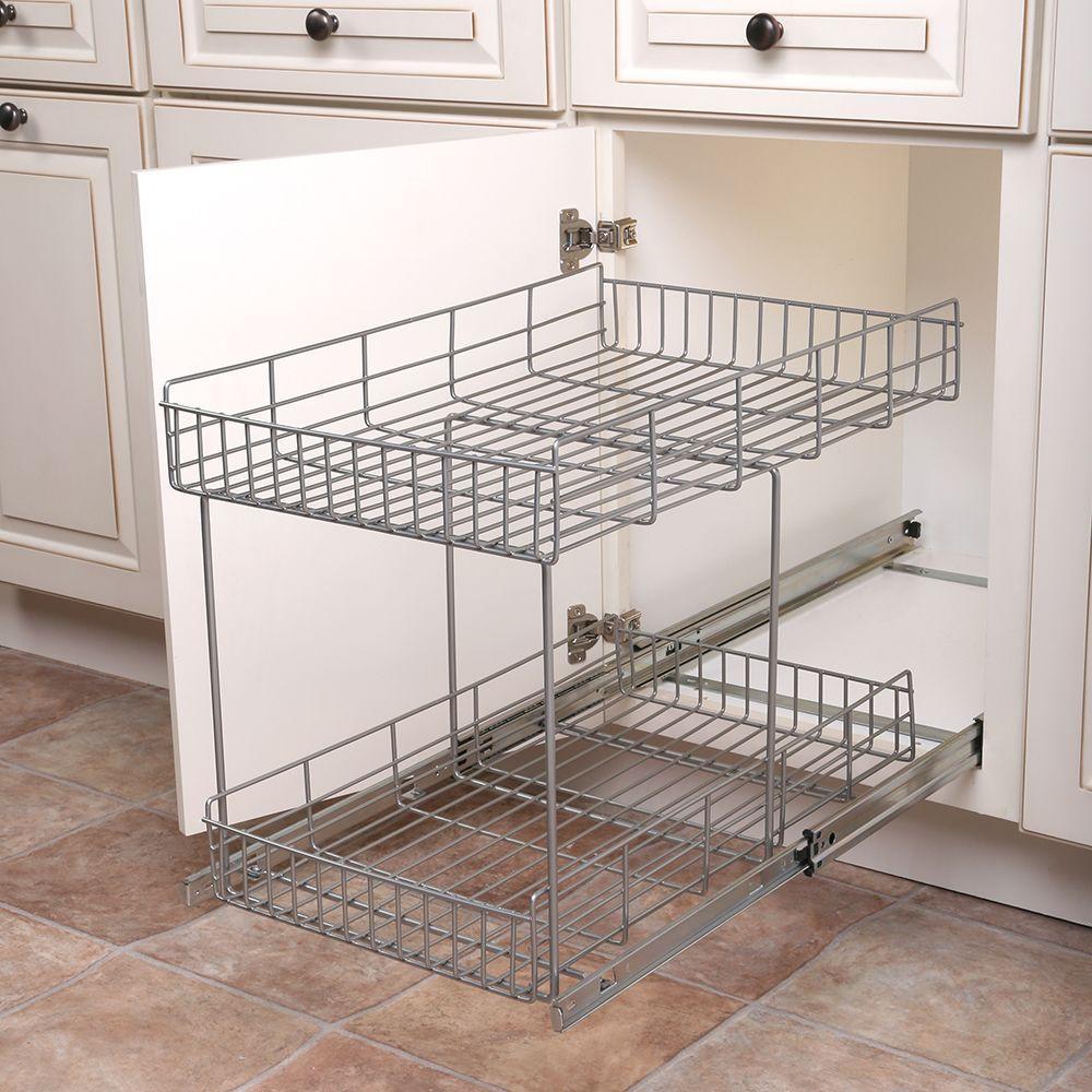 17 in. H x 15 in. W x 22 in. D Half-Shelf Pull-Out Basket Cabinet Organizer in Silver