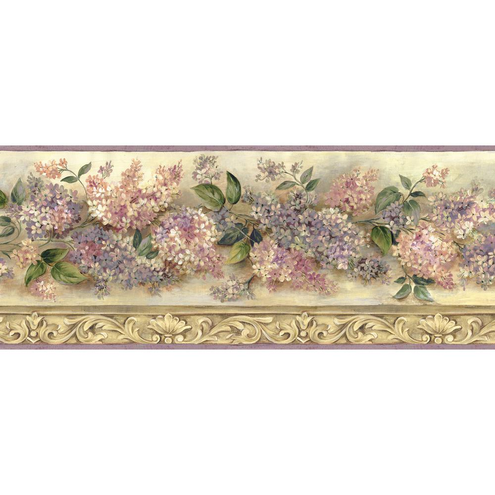 Chesapeake Ethel Heirloom Lilacs Trail Wallpaper Border, ...