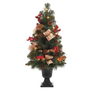 32 inch Natural Pine Potted Artificial Christmas Tree with Pinecones, Red Berries and Burlap by