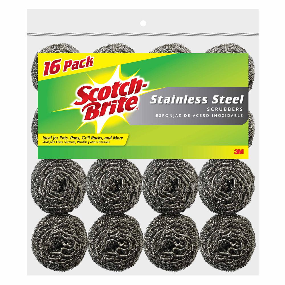 3M Scotch-Brite 2 in  x 2 in  Stainless Steel Scrubbers (16-Pack)