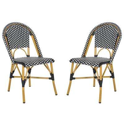 Salcha Stacking Aluminum Outdoor Dining Chair in Black and White (Set of 2)