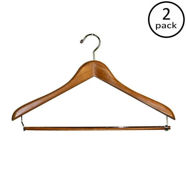 Deluxe Suit Hangers With Wood Bar 2 Pack 88851 The Home Depot