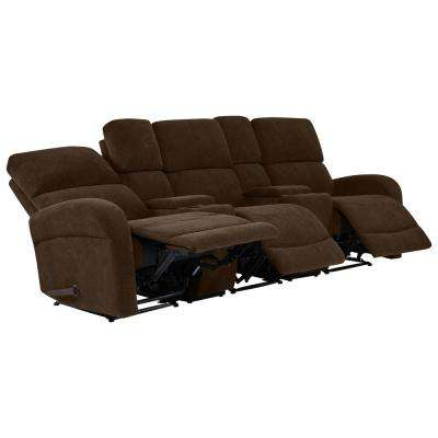 Genial Chocolate Brown Chenille 3 Seat Recliner Sofa With Storage Console And USB  Ports