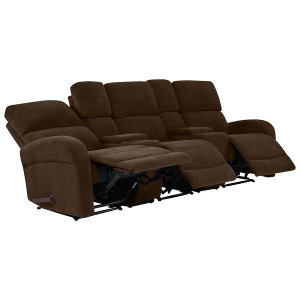 ProLounger Chocolate Brown Chenille 3-Seat Recliner Sofa ...