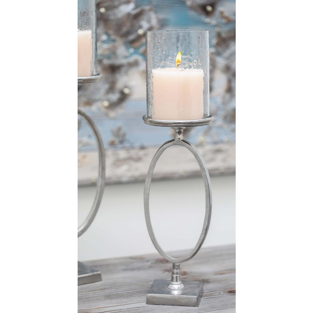 litton lane 22 in x 6 in frosted hurricane glass candle holder