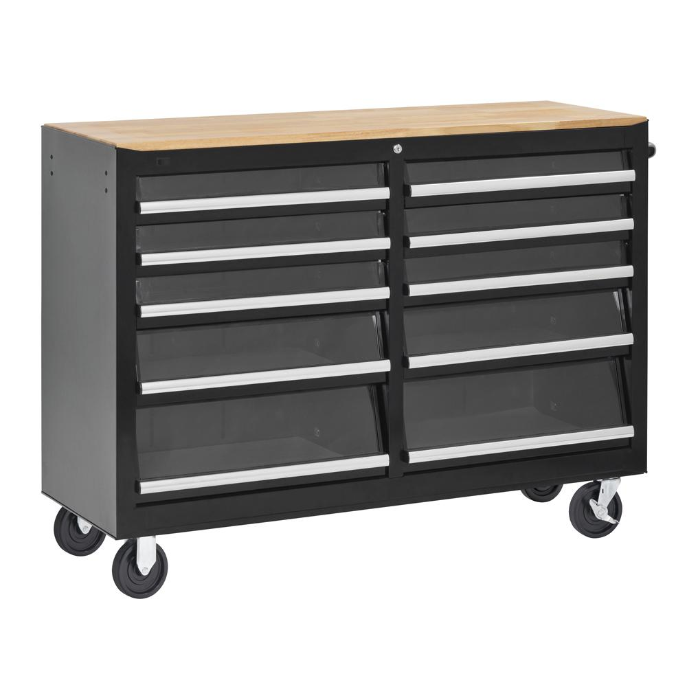 52 in. Tempered Glass 10-Drawer Center Roller Cabinet Tool Chest in