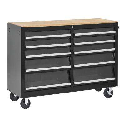 52 in. Tempered Glass 10-Drawer Mobile Work Center Black