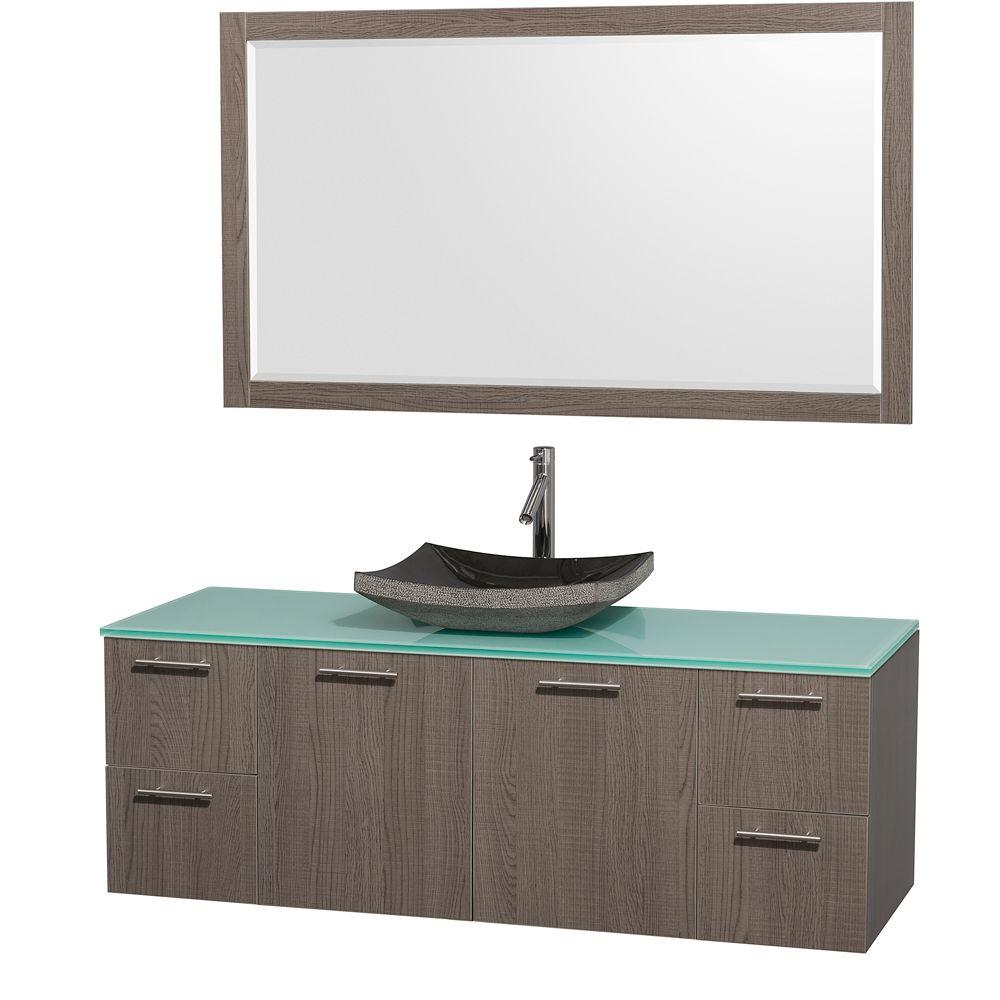 Wyndham Collection Amare 60 in. Vanity in Grey Oak with Glass Vanity Top in Aqua and Black Granite Sink