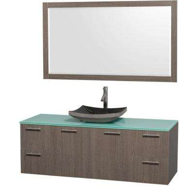 Amare 60 in. Vanity in Grey Oak with Glass Vanity Top in Aqua and Black Granite Sink