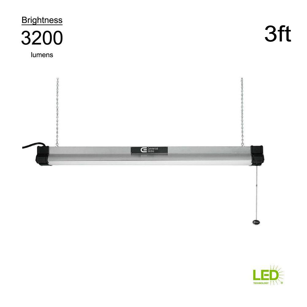 Commercial Electric 4000K 3 ft. Brushed Nickel Integrated LED Shop Light (with pull chain and 5 ft. power cord)