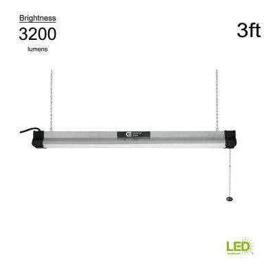 4000K 3 ft. Brushed Nickel Integrated LED Shop Light (with pull chain and 5 ft. power cord)