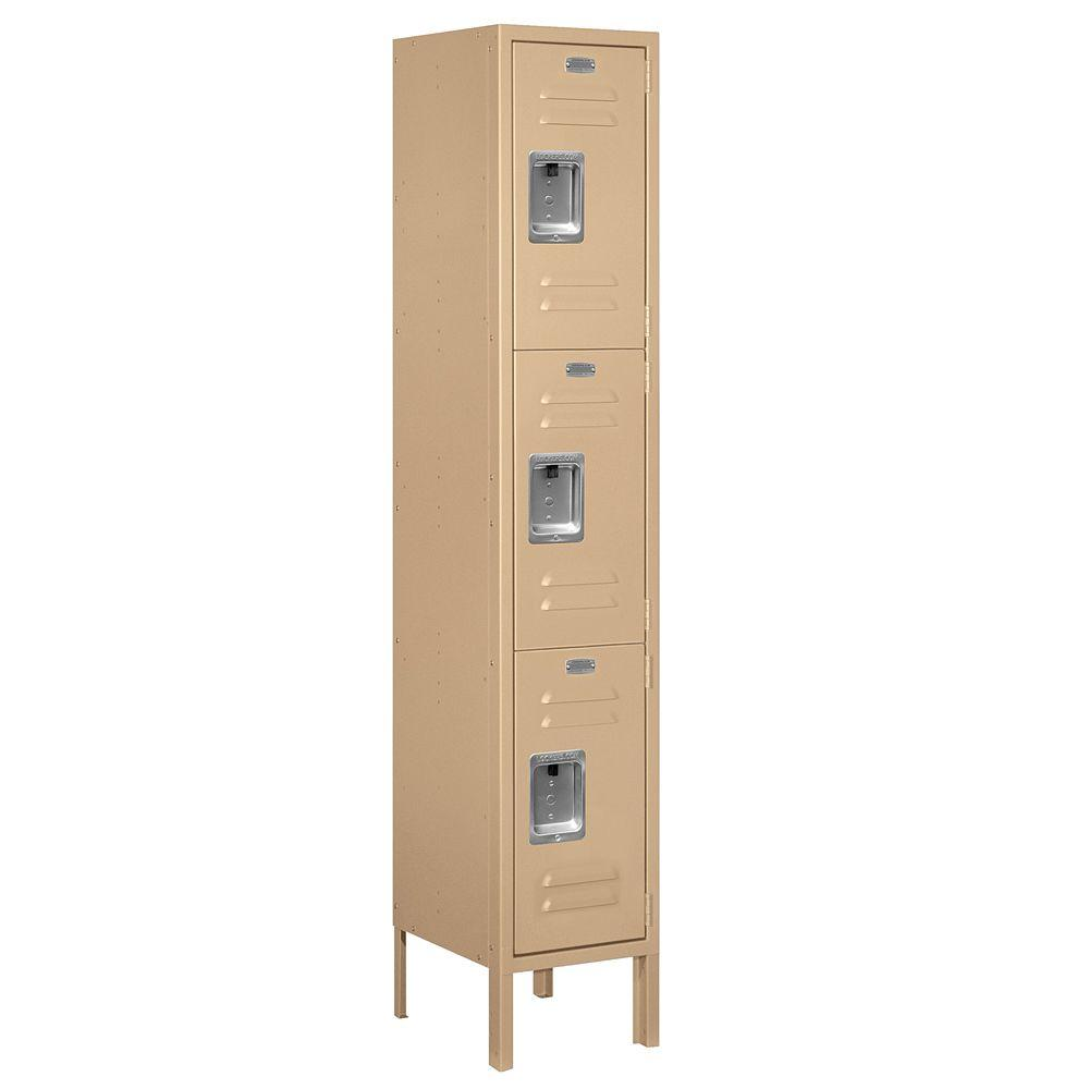 Salsbury Industries 63000 Series 12 in. W x 66 in. H x 12 in. D - Triple Tier Metal Locker Unassembled in Tan