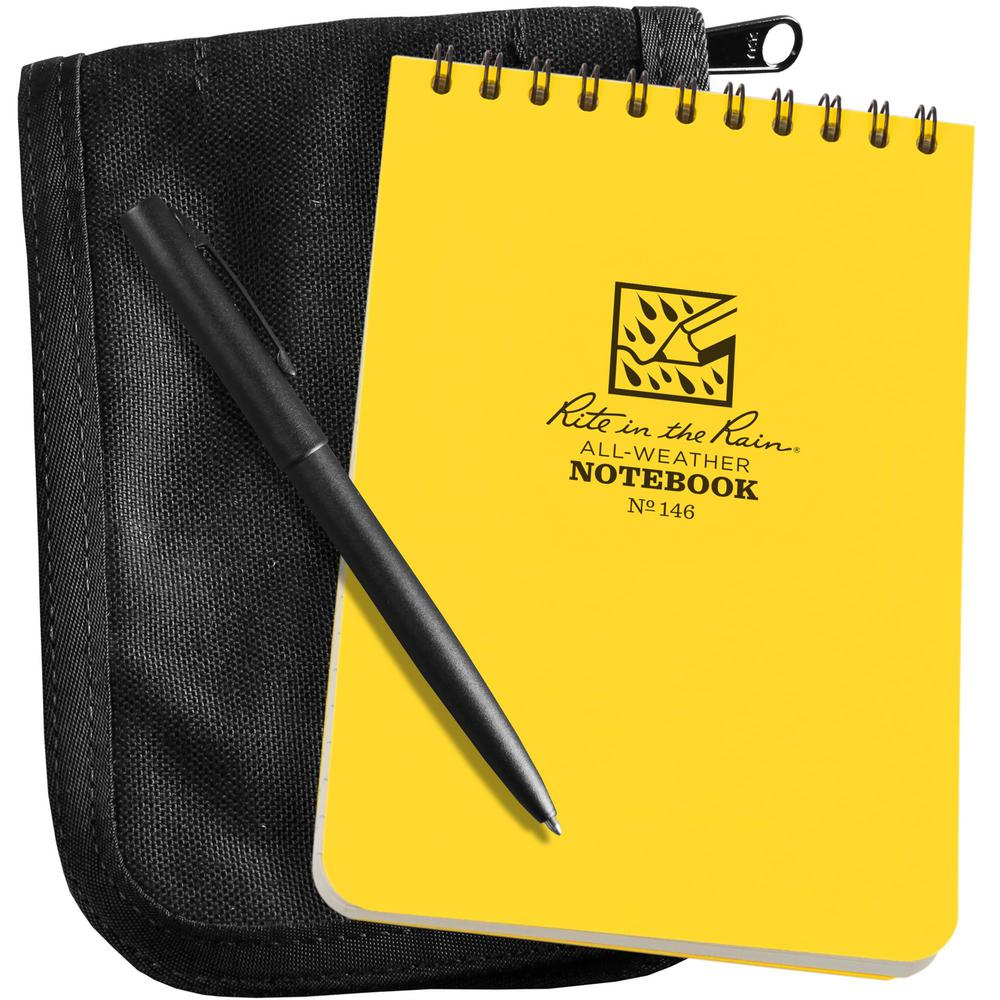 Rite in the Rain All-Weather 4 in. x 6 in. Top-Spiral Notebook Kit, Black CORDURA Fabric Cover and All-Weather Pen