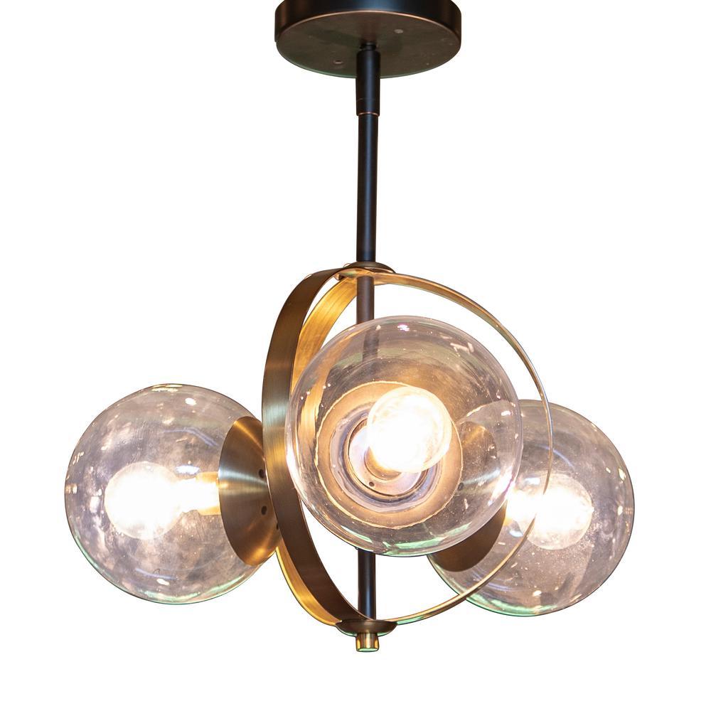 Decor Therapy Griggs Globe 3 Light Black Semi Flush Mount Light