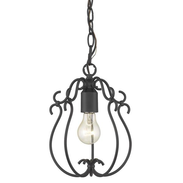 Suzette 1-Light Mini Pendant in Natural Black