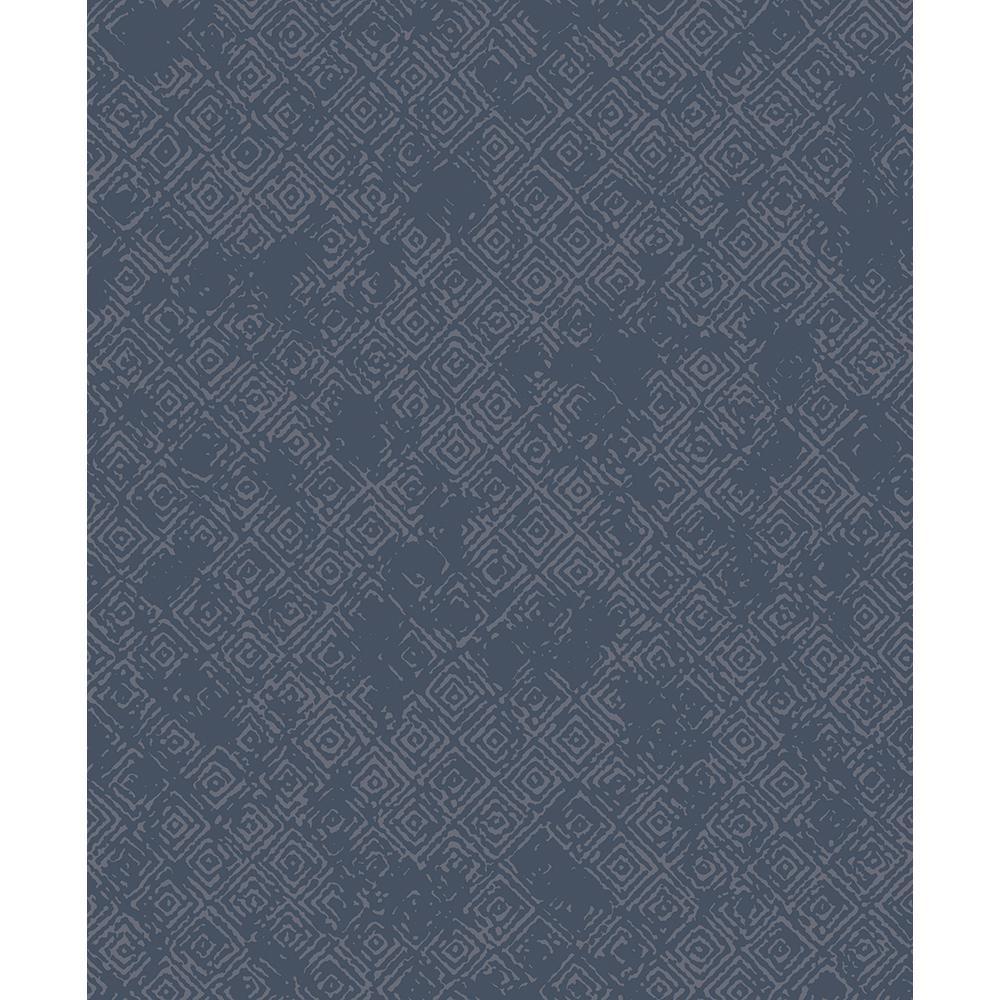 8 in. x 10 in. Thompson Navy Key Wallpaper Sample