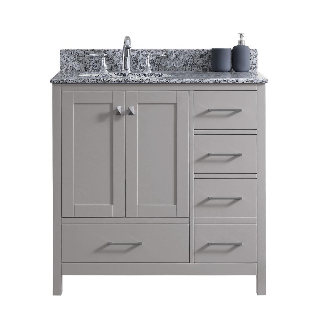 Caroline Madison 36 in. W Bath Vanity in Cashmere Gray with Granite Vanity Top in Arctic White Granite with Round Basin