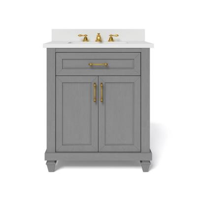 Grovehurst 30 in. W x 34.5 in. H Bath Vanity in Antique Grey with Engineered Stone Vanity Top in White with White Basin