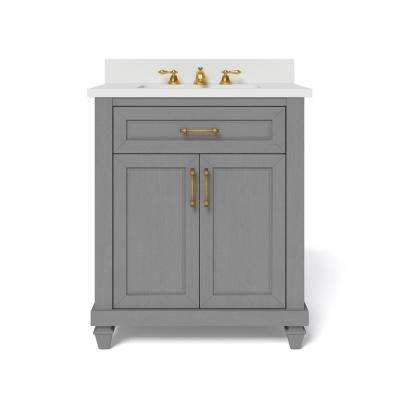 30 in. W x 34.5 in. H Bath Vanity in Antique Grey with Engineered Stone Vanity Top in White with White Basin