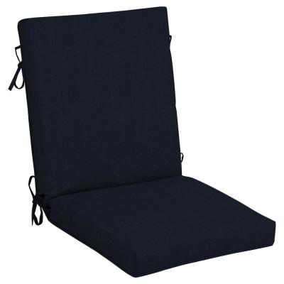 21 in. x 24 in. CushionGuard Midnight Outdoor Welted High Back Dining Chair Cushion