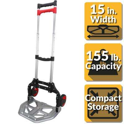 155 lbs. Folding Hand Truck with Steel Toe Plate
