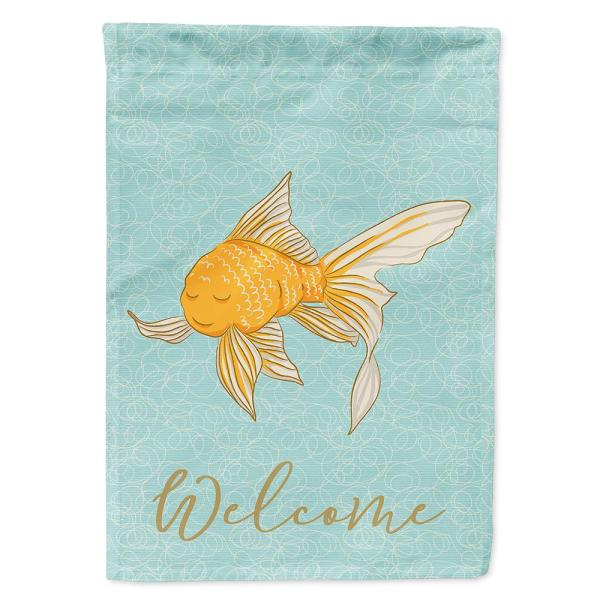 Caroline S Treasures 28 In X 40 In Polyester Gold Fish Welcome Flag Canvas House Size 2 Sided Heavyweight Bb8579chf The Home Depot
