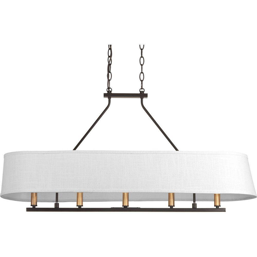 Progress lighting cherish collection 5 light antique bronze linear progress lighting cherish collection 5 light antique bronze linear chandelier with summer linen shade mozeypictures Image collections