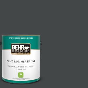Behr Premium Plus 1 Gal Ppu24 23 Little Black Dress Semi Gloss Enamel Low Odor Interior Paint And Primer In One 330001 The Home Depot