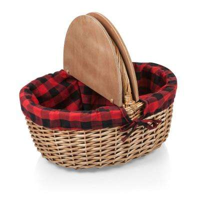 Country Red & Black Wood Picnic Basket