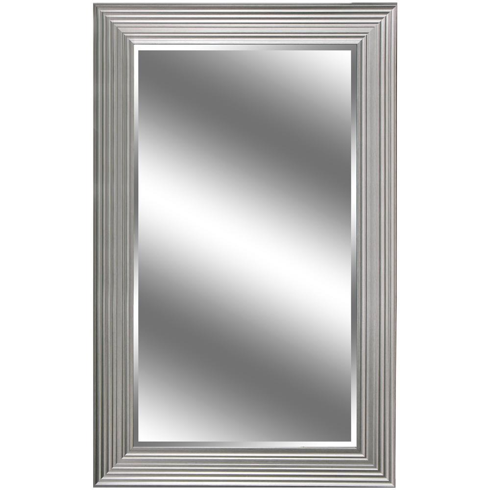 Y Decor 37 in. x 60 in. Silver Woodgrain Resin Framed Mirror ...