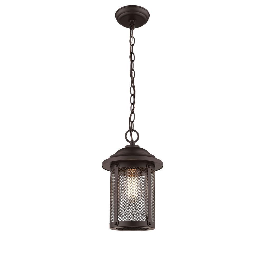 1-Light 11 in. Powder Coat Bronze Outdoor Lantern Pendant