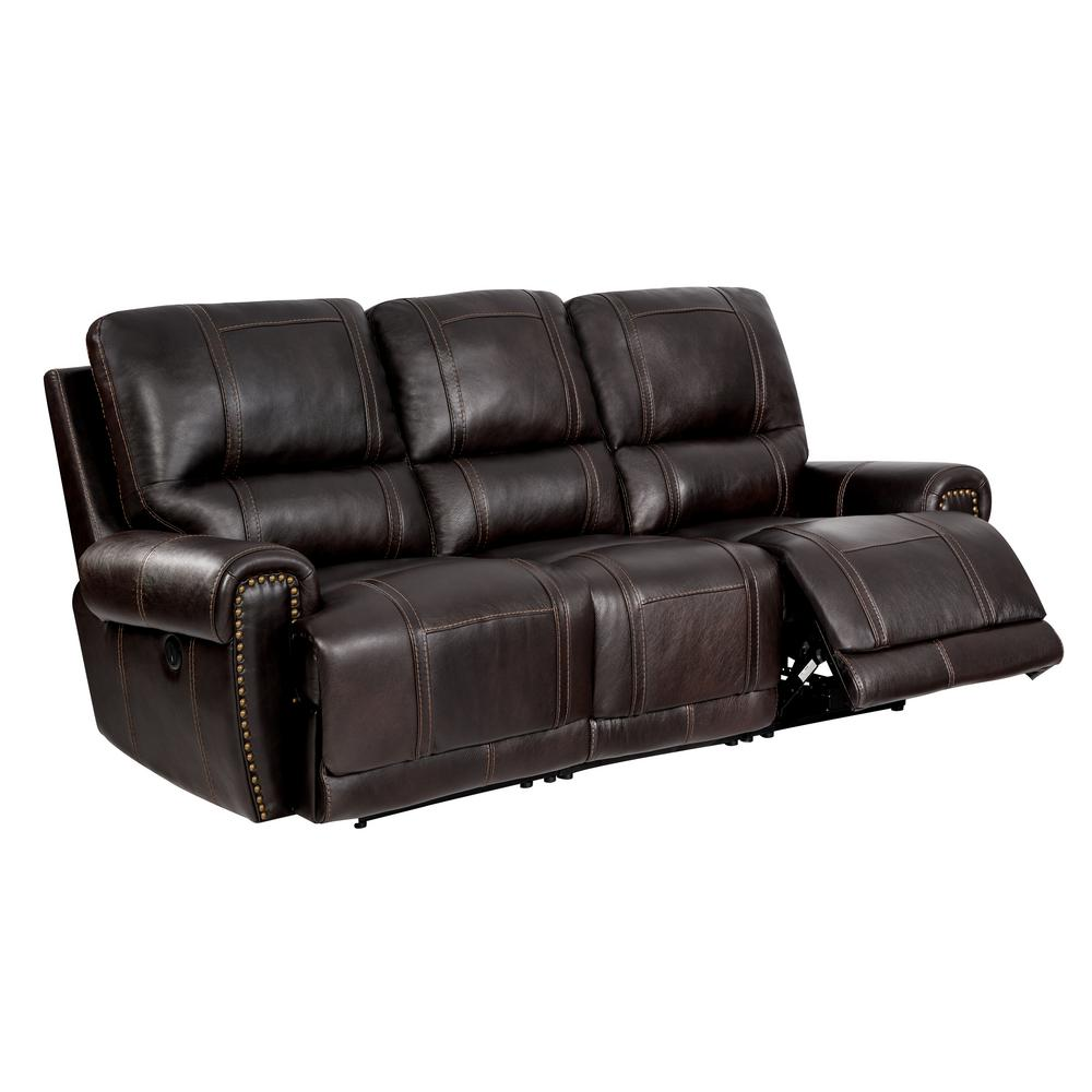 Homefare 89 5 In W Chocolate Brown Leather 3 Seats Sofa With Power Reclining 156 A028 715 K1 The Home Depot